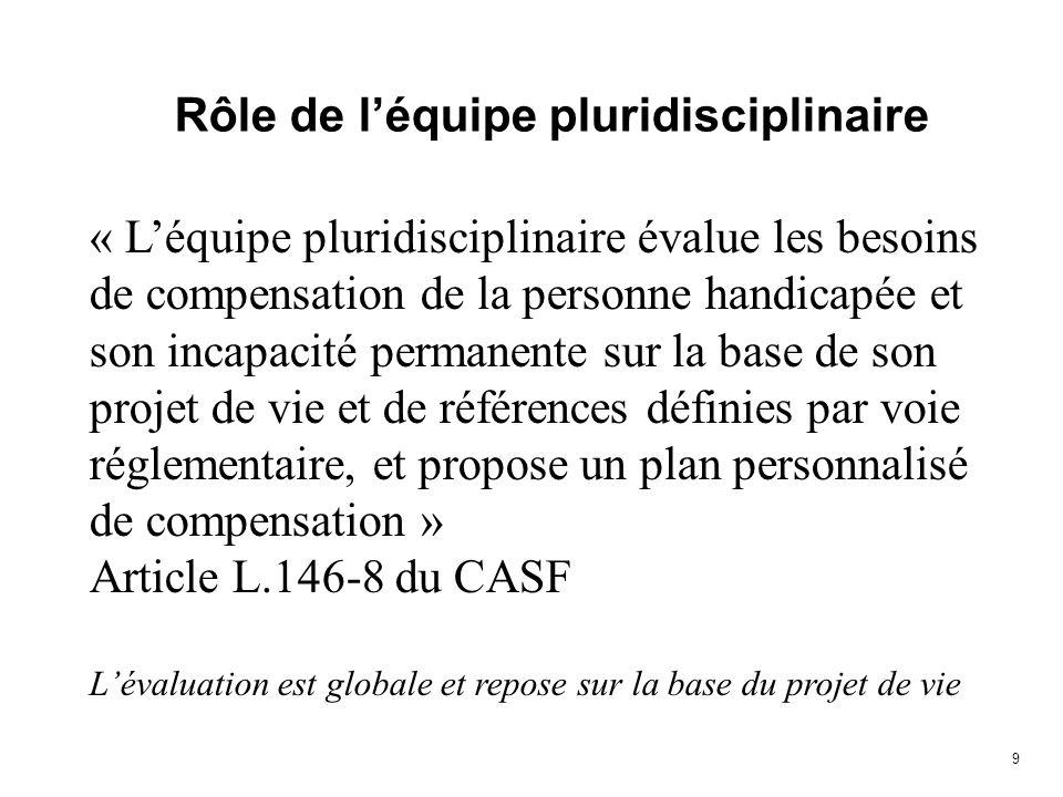 9 Rôle de léquipe pluridisciplinaire « Léquipe pluridisciplinaire évalue les besoins de compensation de la personne handicapée et son incapacité perma