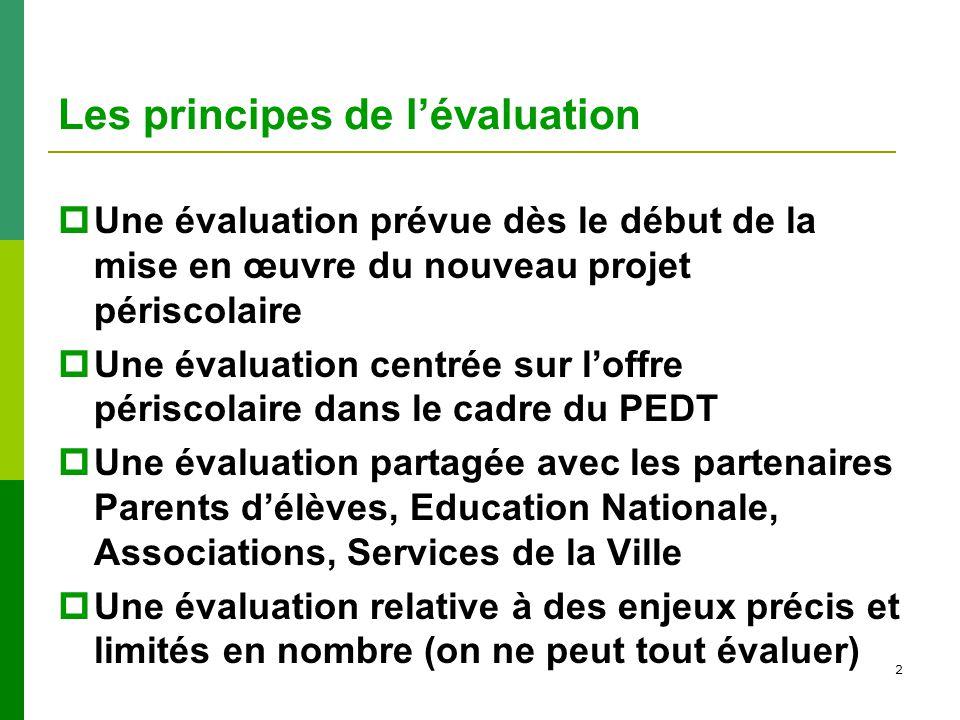2 Les principes de lévaluation Une évaluation prévue dès le début de la mise en œuvre du nouveau projet périscolaire Une évaluation centrée sur loffre