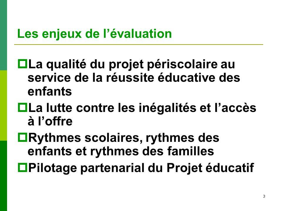 3 Les enjeux de lévaluation La qualité du projet périscolaire au service de la réussite éducative des enfants La lutte contre les inégalités et laccès