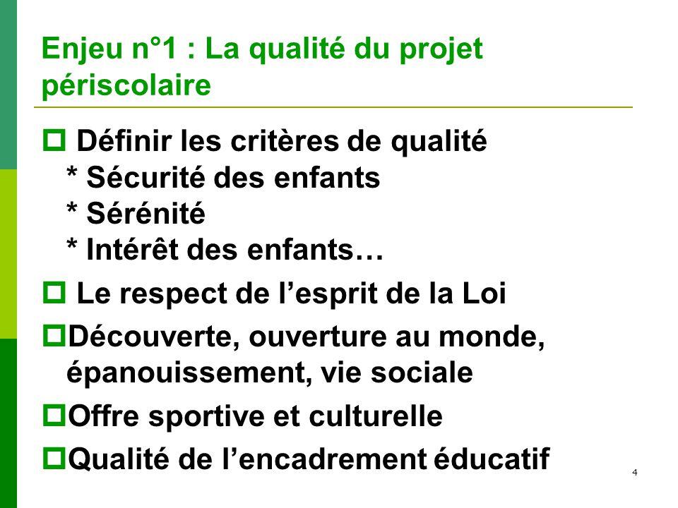 4 Enjeu n°1 : La qualité du projet périscolaire Définir les critères de qualité * Sécurité des enfants * Sérénité * Intérêt des enfants… Le respect de