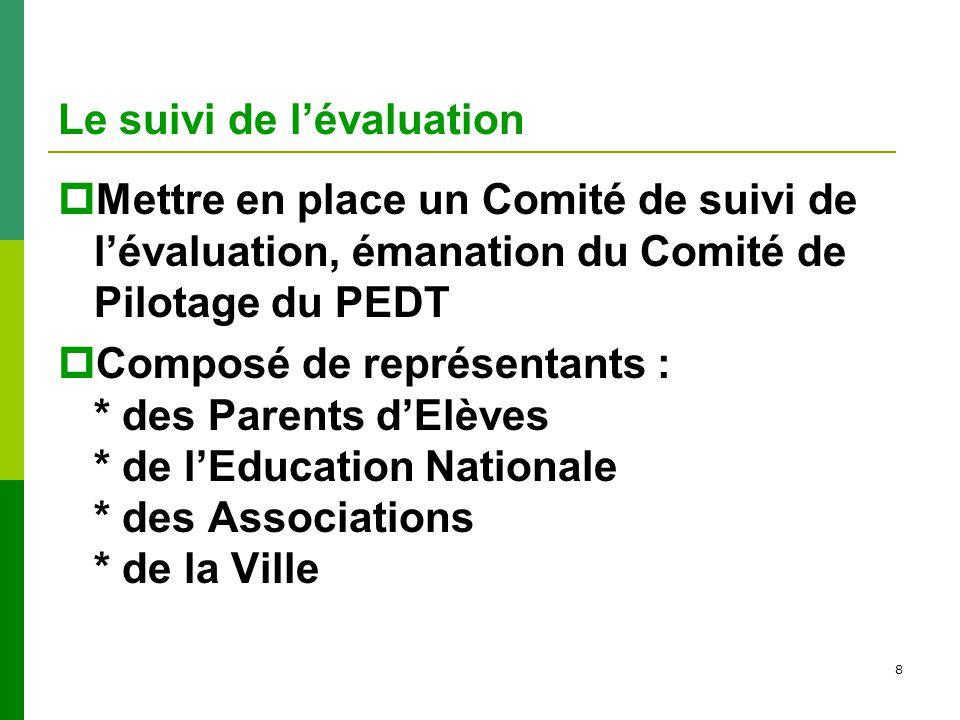 8 Le suivi de lévaluation Mettre en place un Comité de suivi de lévaluation, émanation du Comité de Pilotage du PEDT Composé de représentants : * des Parents dElèves * de lEducation Nationale * des Associations * de la Ville
