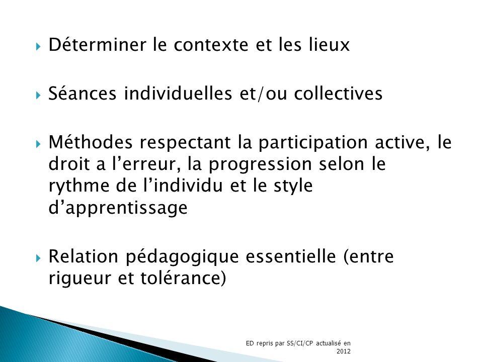 Déterminer le contexte et les lieux Séances individuelles et/ou collectives Méthodes respectant la participation active, le droit a lerreur, la progre