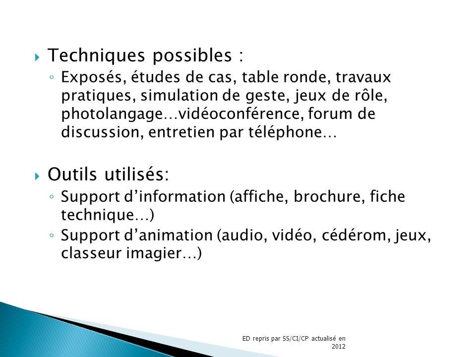 Techniques possibles : Exposés, études de cas, table ronde, travaux pratiques, simulation de geste, jeux de rôle, photolangage…vidéoconférence, forum