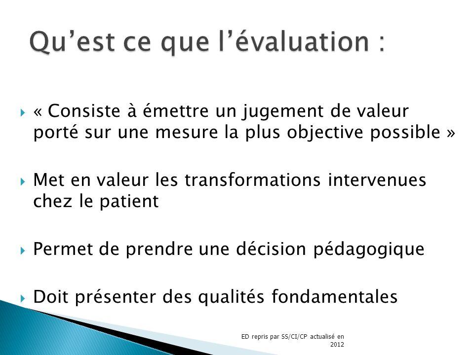 « Consiste à émettre un jugement de valeur porté sur une mesure la plus objective possible » Met en valeur les transformations intervenues chez le pat