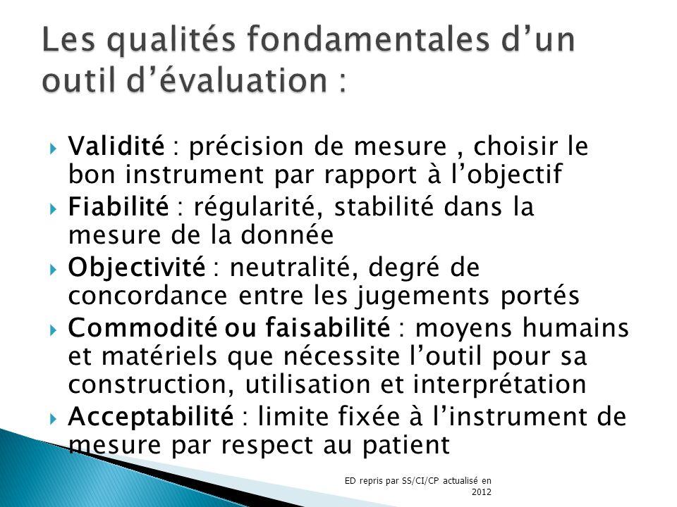 Validité : précision de mesure, choisir le bon instrument par rapport à lobjectif Fiabilité : régularité, stabilité dans la mesure de la donnée Object