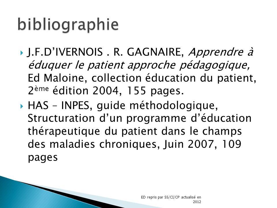 J.F.DIVERNOIS. R. GAGNAIRE, Apprendre à éduquer le patient approche pédagogique, Ed Maloine, collection éducation du patient, 2 ème édition 2004, 155