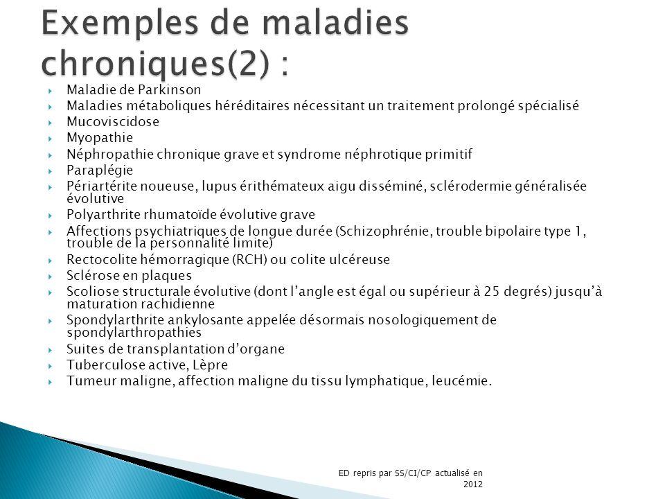Maladie de Parkinson Maladies métaboliques héréditaires nécessitant un traitement prolongé spécialisé Mucoviscidose Myopathie Néphropathie chronique g