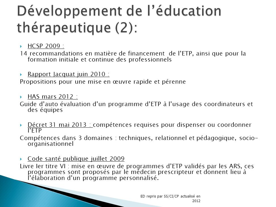 HCSP 2009 : 14 recommandations en matière de financement de lETP, ainsi que pour la formation initiale et continue des professionnels Rapport Jacquat