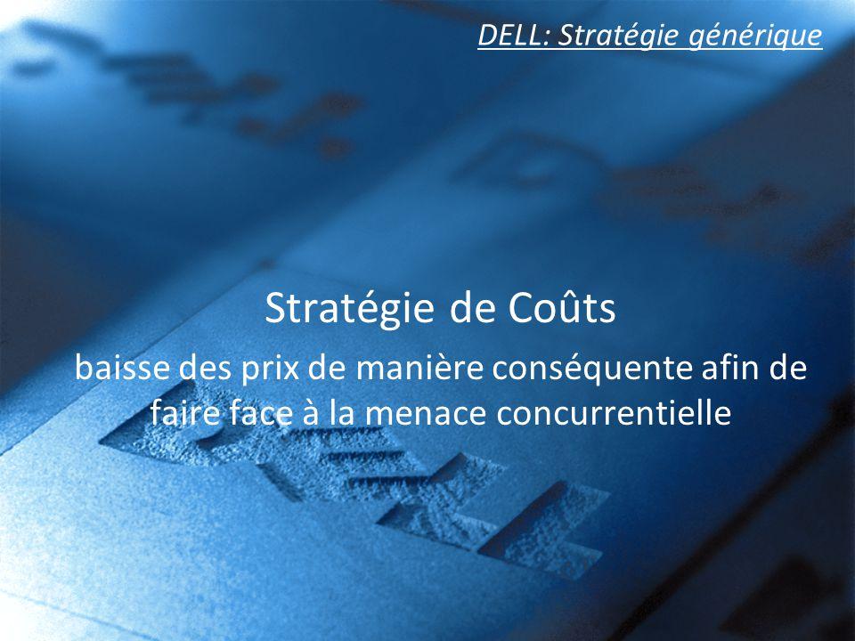 DELL: Stratégie générique Stratégie de Coûts baisse des prix de manière conséquente afin de faire face à la menace concurrentielle