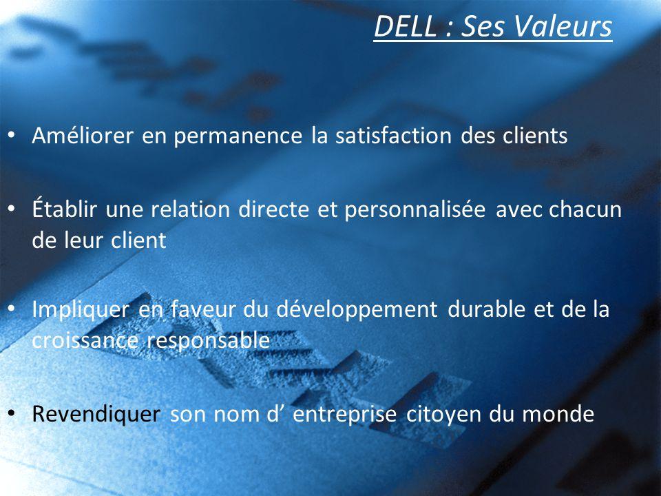 DELL : Ses Valeurs Améliorer en permanence la satisfaction des clients Établir une relation directe et personnalisée avec chacun de leur client Impliq