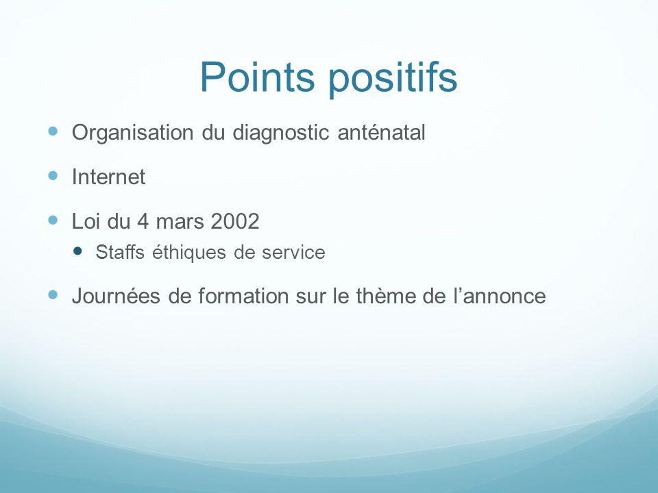 Points positifs Organisation du diagnostic anténatal Internet Loi du 4 mars 2002 Staffs éthiques de service Journées de formation sur le thème de lann