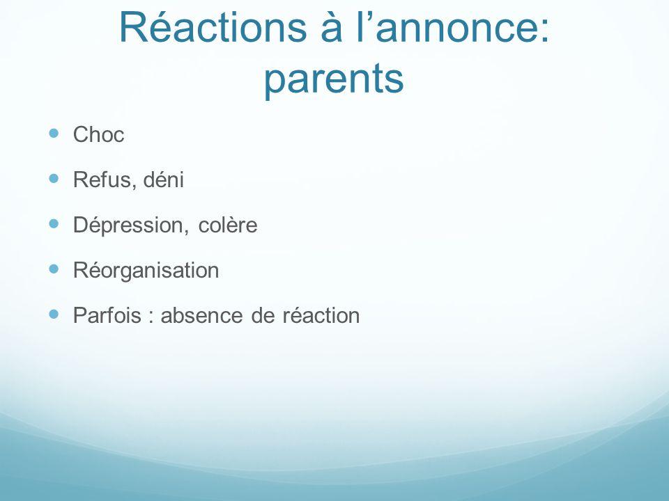 Réactions à lannonce : soignants Echec, culpabilité Projection, identification Difficultés à faire face à la détresse des parents Etonnement et incompréhension de certaines situations