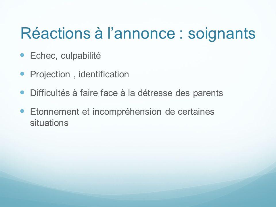 Réactions à lannonce : soignants Echec, culpabilité Projection, identification Difficultés à faire face à la détresse des parents Etonnement et incomp
