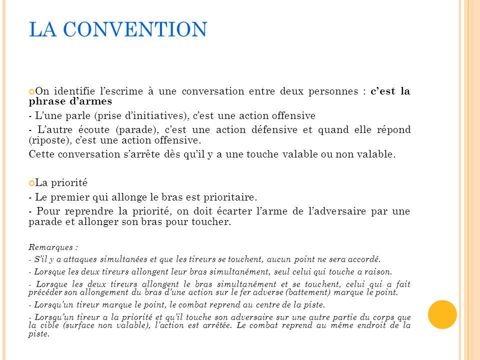LA CONVENTION On identifie lescrime à une conversation entre deux personnes : cest la phrase darmes - Lune parle (prise dinitiatives), cest une action