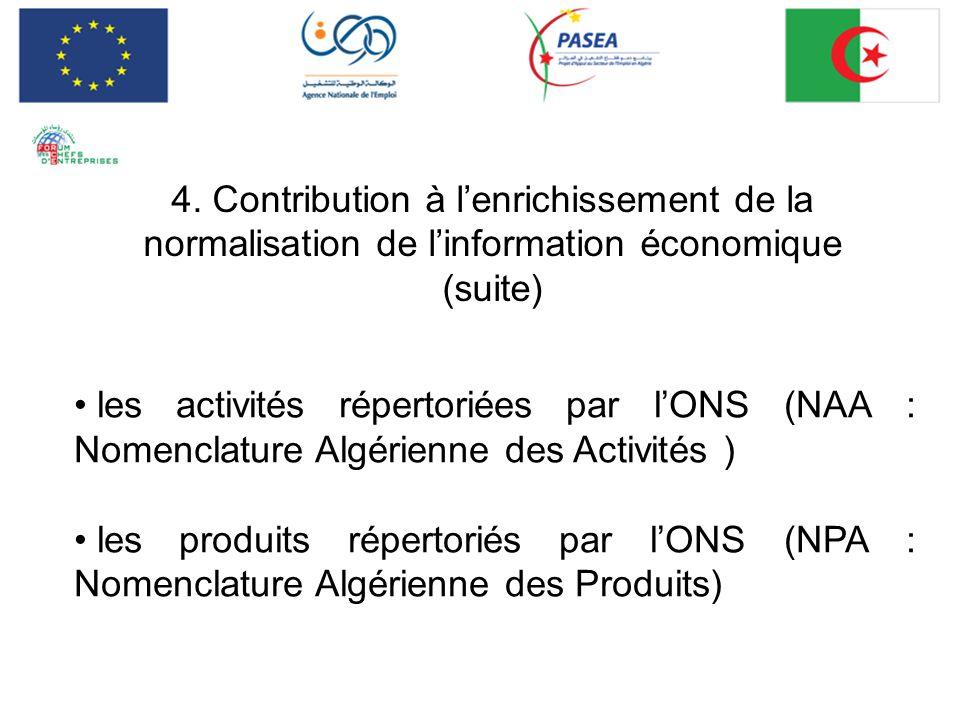 4. Contribution à lenrichissement de la normalisation de linformation économique (suite) les activités répertoriées par lONS (NAA : Nomenclature Algér
