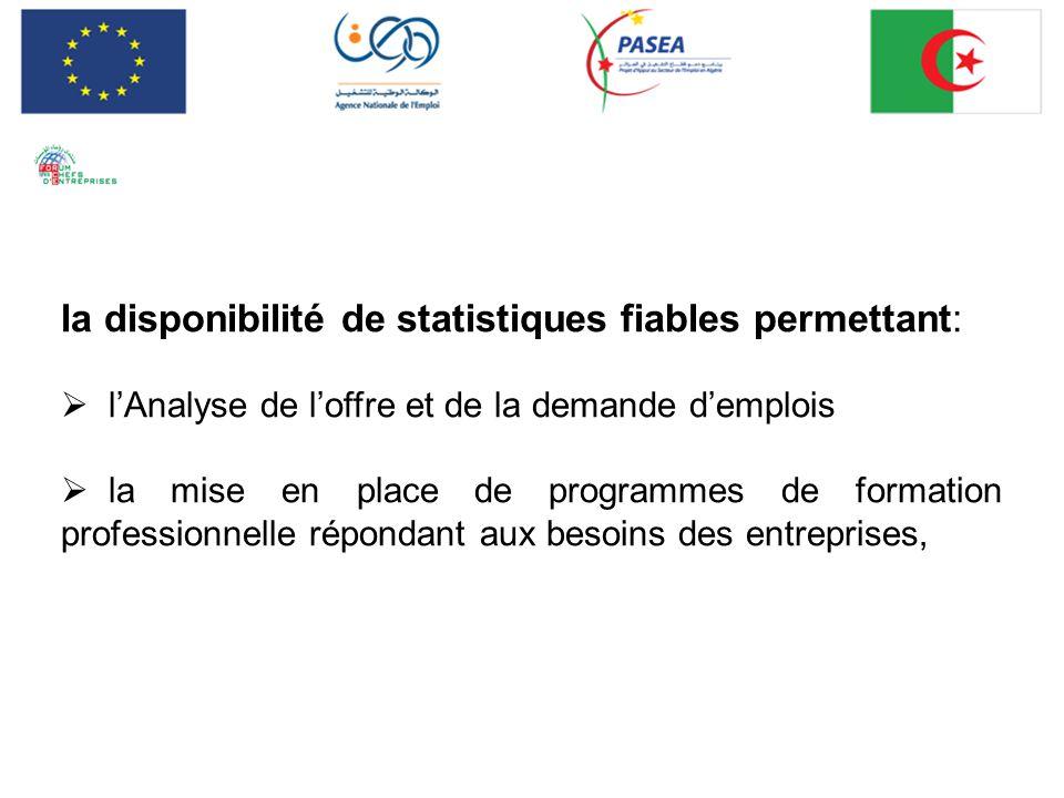 la disponibilité de statistiques fiables permettant: lAnalyse de loffre et de la demande demplois la mise en place de programmes de formation professi