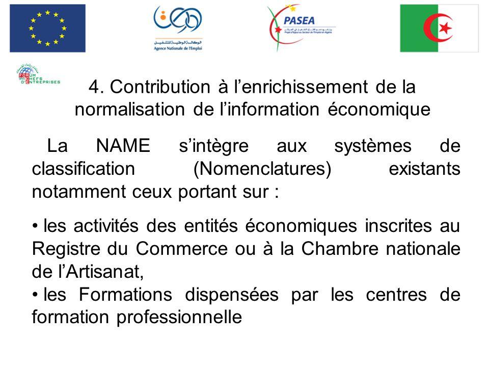 4. Contribution à lenrichissement de la normalisation de linformation économique La NAME sintègre aux systèmes de classification (Nomenclatures) exist