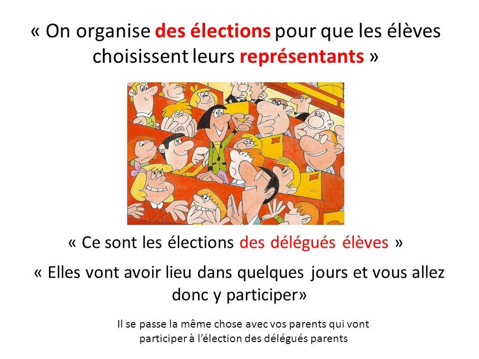 « On organise des élections pour que les élèves choisissent leurs représentants » « Ce sont les élections des délégués élèves » « Elles vont avoir lie