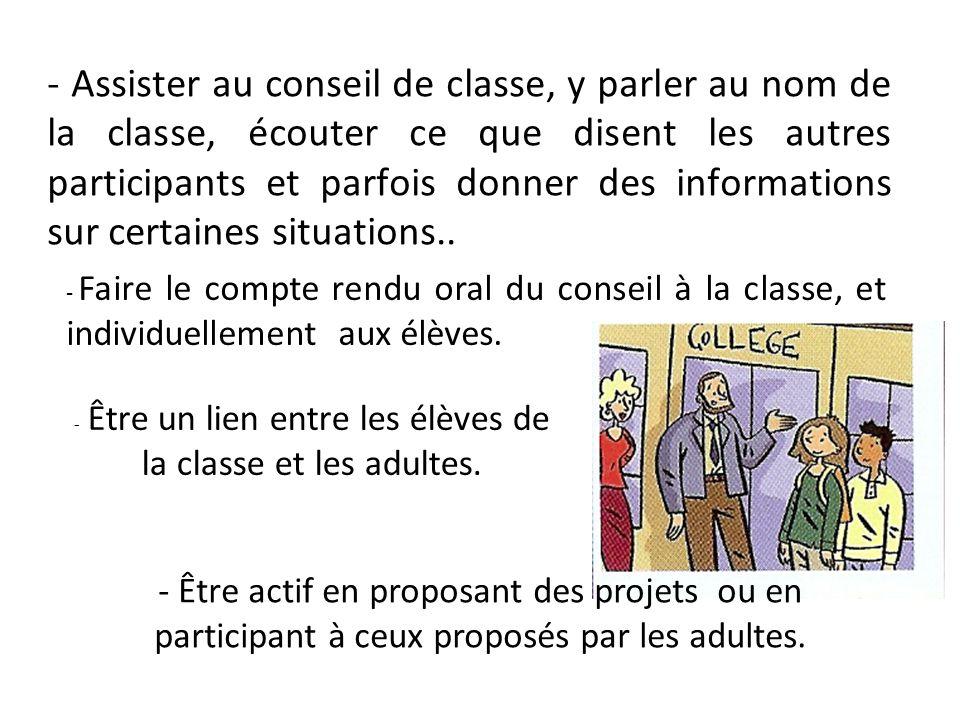 - Assister au conseil de classe, y parler au nom de la classe, écouter ce que disent les autres participants et parfois donner des informations sur ce