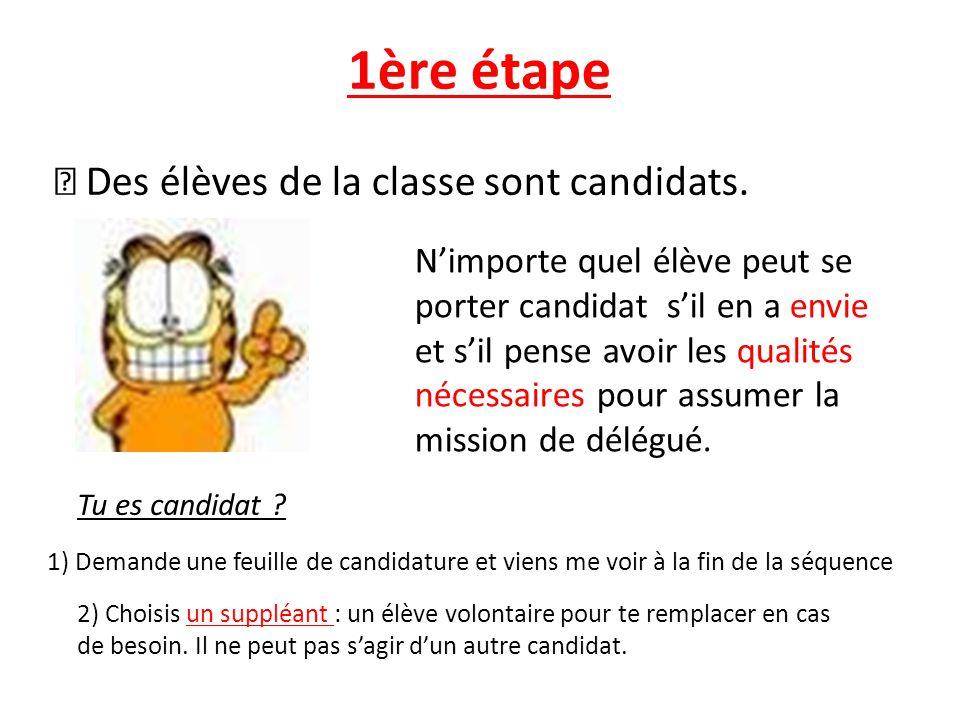 1ère étape Des élèves de la classe sont candidats. Tu es candidat ? 1) Demande une feuille de candidature et viens me voir à la fin de la séquence 2)