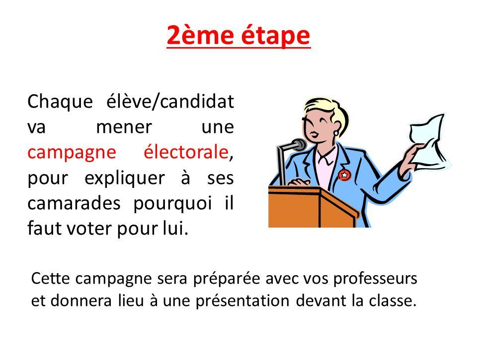 2ème étape Chaque élève/candidat va mener une campagne électorale, pour expliquer à ses camarades pourquoi il faut voter pour lui. Cette campagne sera