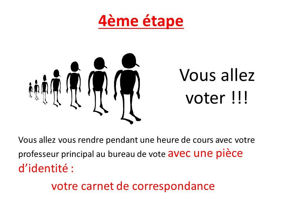 4ème étape Vous allez voter !!! Vous allez vous rendre pendant une heure de cours avec votre professeur principal au bureau de vote avec une pièce did