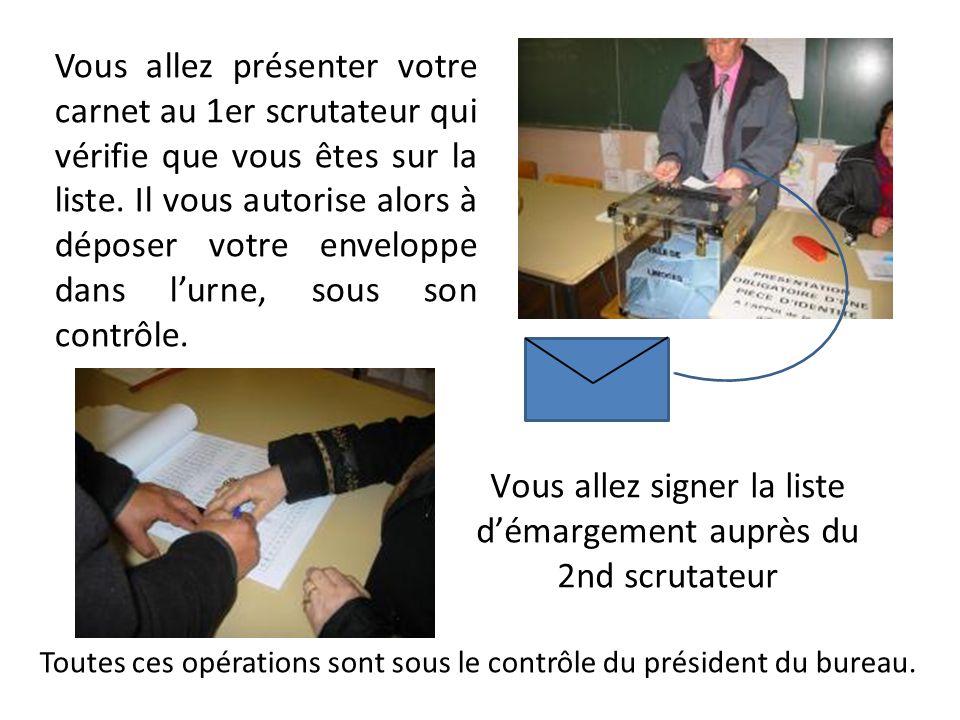 Vous allez signer la liste démargement auprès du 2nd scrutateur Toutes ces opérations sont sous le contrôle du président du bureau. Vous allez présent
