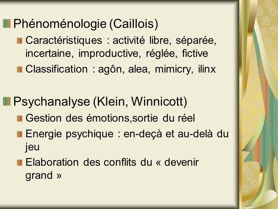 Phénoménologie (Caillois) Caractéristiques : activité libre, séparée, incertaine, improductive, réglée, fictive Classification : agôn, alea, mimicry,