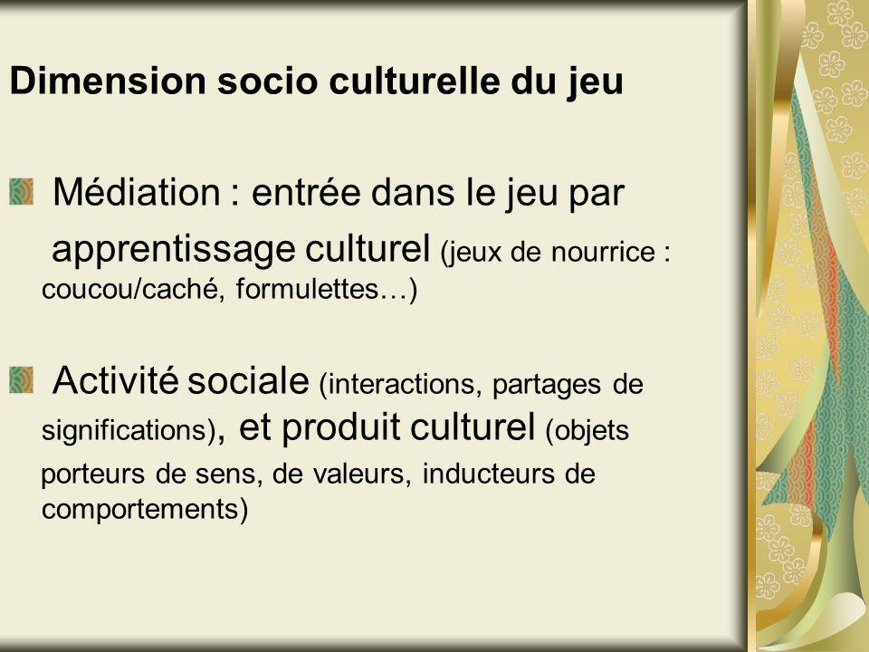 Dimension socio culturelle du jeu Médiation : entrée dans le jeu par apprentissage culturel (jeux de nourrice : coucou/caché, formulettes…) Activité s