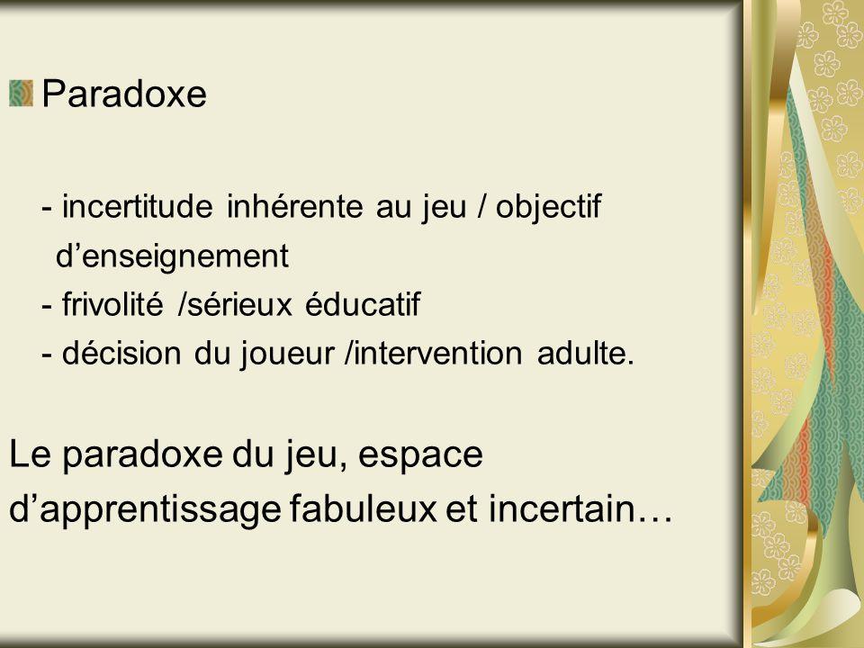 Paradoxe - incertitude inhérente au jeu / objectif denseignement - frivolité /sérieux éducatif - décision du joueur /intervention adulte. Le paradoxe