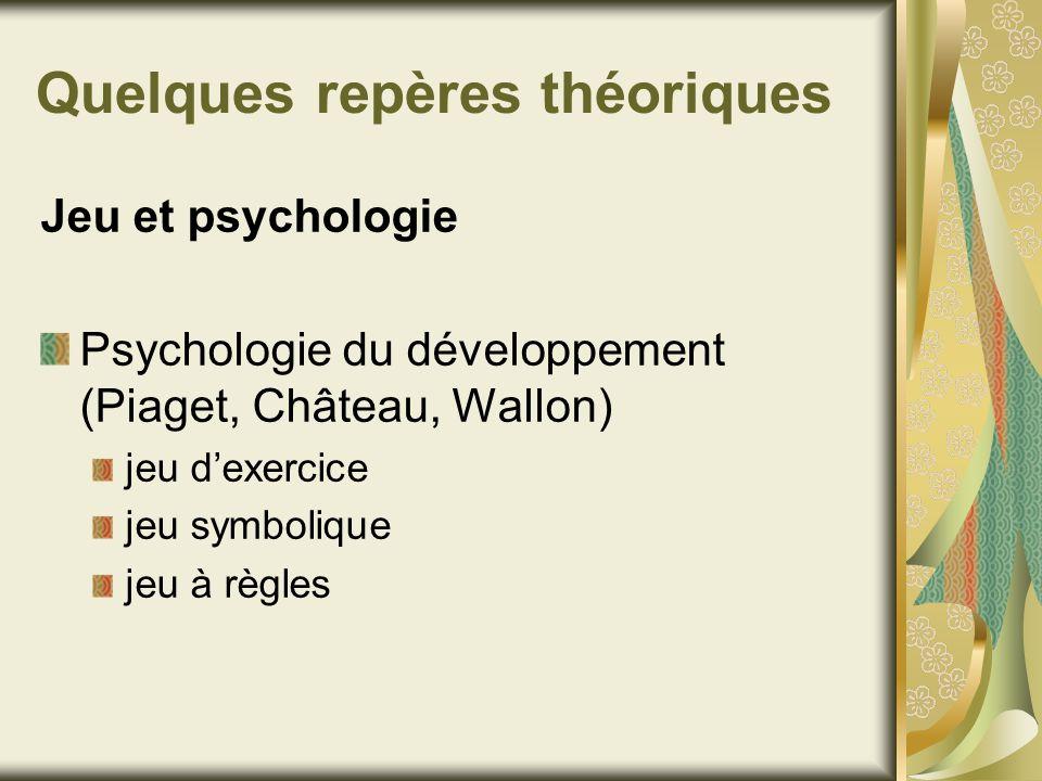Quelques repères théoriques Jeu et psychologie Psychologie du développement (Piaget, Château, Wallon) jeu dexercice jeu symbolique jeu à règles