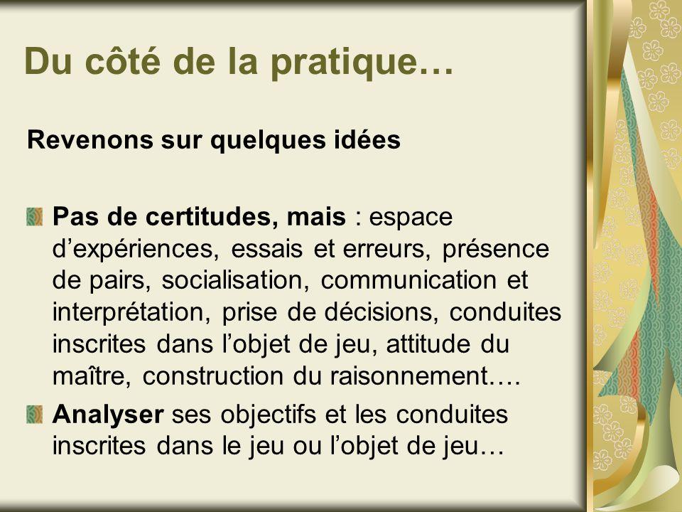 Du côté de la pratique… Revenons sur quelques idées Pas de certitudes, mais : espace dexpériences, essais et erreurs, présence de pairs, socialisation
