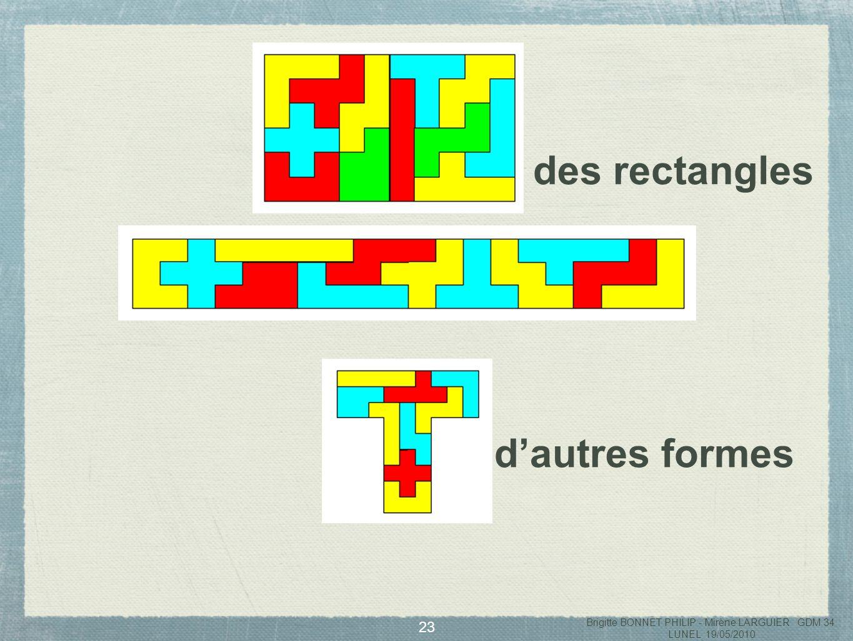 24 Réaliser des formes superposables en utilisant des pentaminos différents Brigitte BONNET PHILIP - Mirène LARGUIER GDM 34 LUNEL 19/05/2010