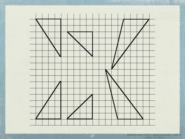 28 Rechercher tous les polygones que lon peut obtenir en juxtaposant les 2 triangles identiques Contrainte : 2 triangles doivent être juxtaposés en faisant coîncider 2 côtés de même longueur Brigitte BONNET PHILIP - Mirène LARGUIER GDM 34 LUNEL 19/05/2010
