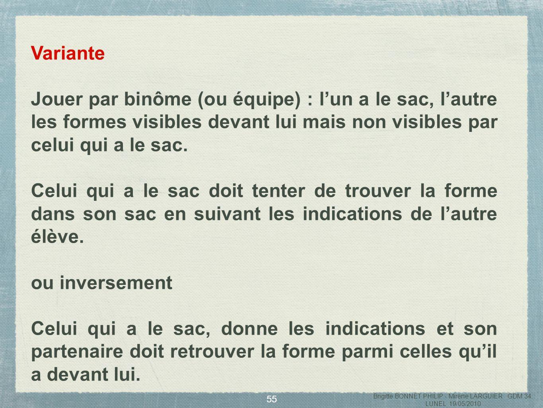 56 Des situations de formulation Brigitte BONNET PHILIP - Mirène LARGUIER GDM 34 LUNEL 19/05/2010