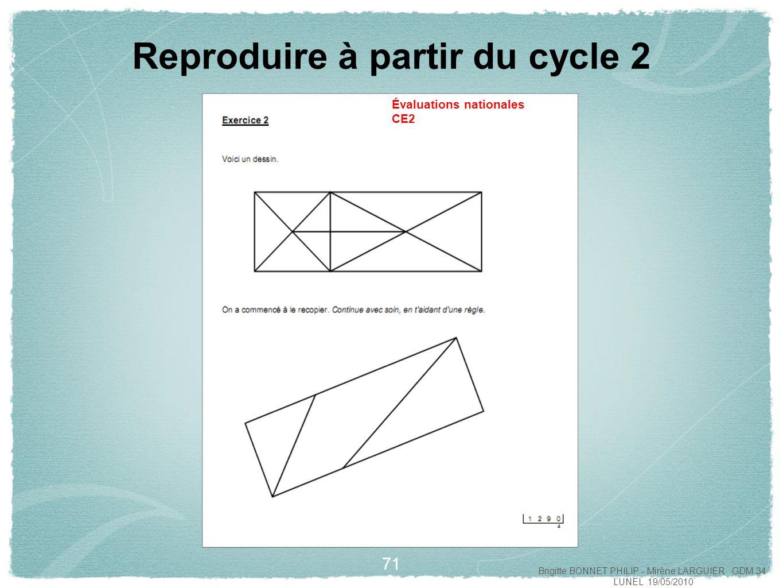 72 Reproduire à partir du cycle 2 Évaluations nationales CE2 Brigitte BONNET PHILIP - Mirène LARGUIER GDM 34 LUNEL 19/05/2010