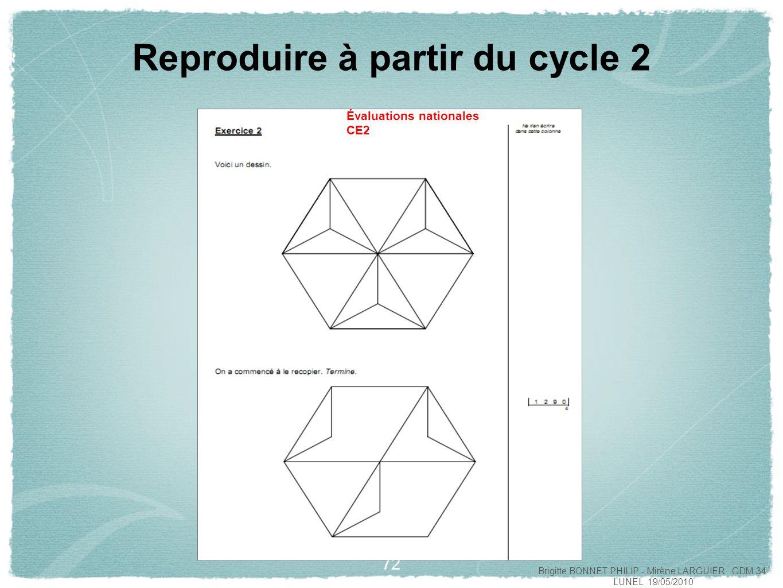 73 Reproduire à partir du cycle 2 Évaluations nationales CE2 Brigitte BONNET PHILIP - Mirène LARGUIER GDM 34 LUNEL 19/05/2010