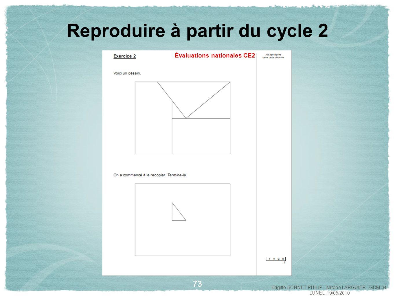 74 Reproduire à partir du cycle 2 Évaluations nationales CE2 Brigitte BONNET PHILIP - Mirène LARGUIER GDM 34 LUNEL 19/05/2010