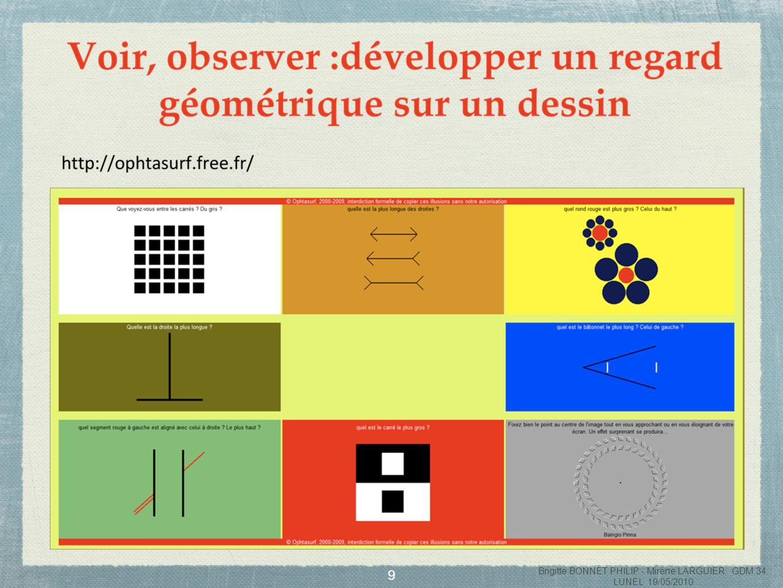 10 Voir, observer : développer un regard géométrique sur un dessin Brigitte BONNET PHILIP - Mirène LARGUIER GDM 34 LUNEL 19/05/2010