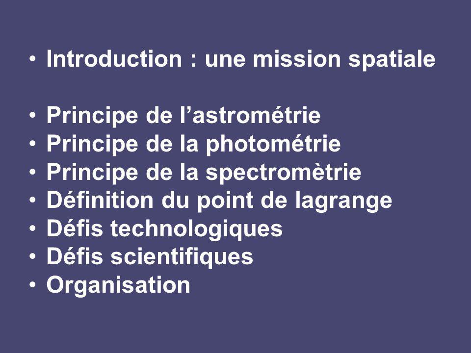 Introduction : une mission spatiale Principe de lastrométrie Principe de la photométrie Principe de la spectromètrie Définition du point de lagrange Défis technologiques Défis scientifiques Organisation