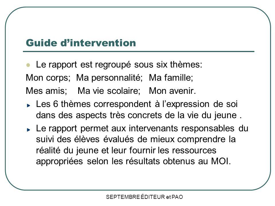 Guide dintervention Le rapport est regroupé sous six thèmes: Mon corps; Ma personnalité; Ma famille; Mes amis; Ma vie scolaire; Mon avenir.