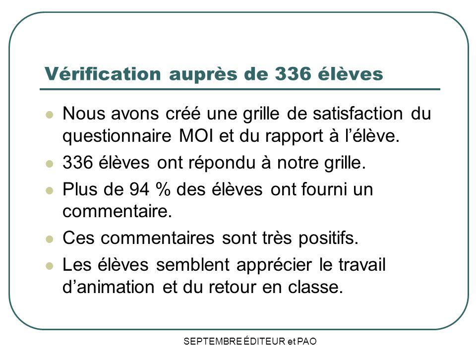 Vérification auprès de 336 élèves Nous avons créé une grille de satisfaction du questionnaire MOI et du rapport à lélève.
