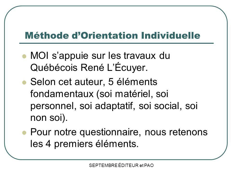 SEPTEMBRE ÉDITEUR et PAO Méthode dOrientation Individuelle MOI sappuie sur les travaux du Québécois René LÉcuyer.