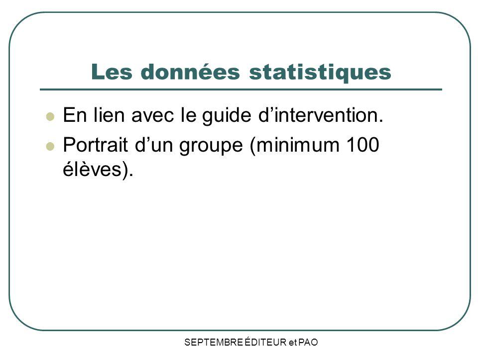 Les données statistiques En lien avec le guide dintervention.