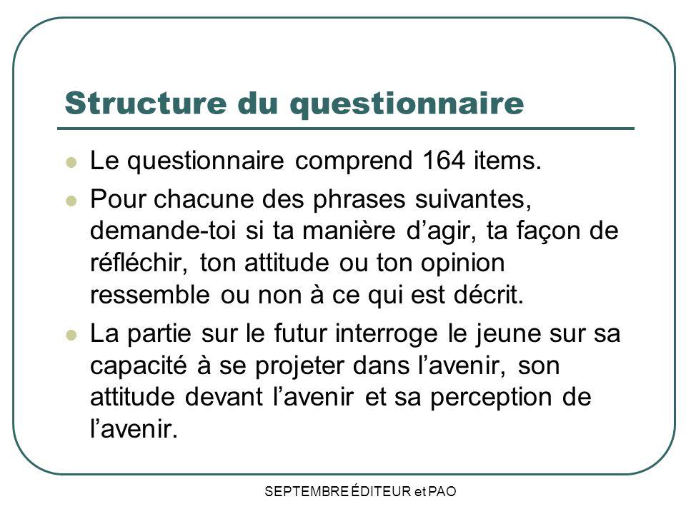 SEPTEMBRE ÉDITEUR et PAO Structure du questionnaire Le questionnaire comprend 164 items.