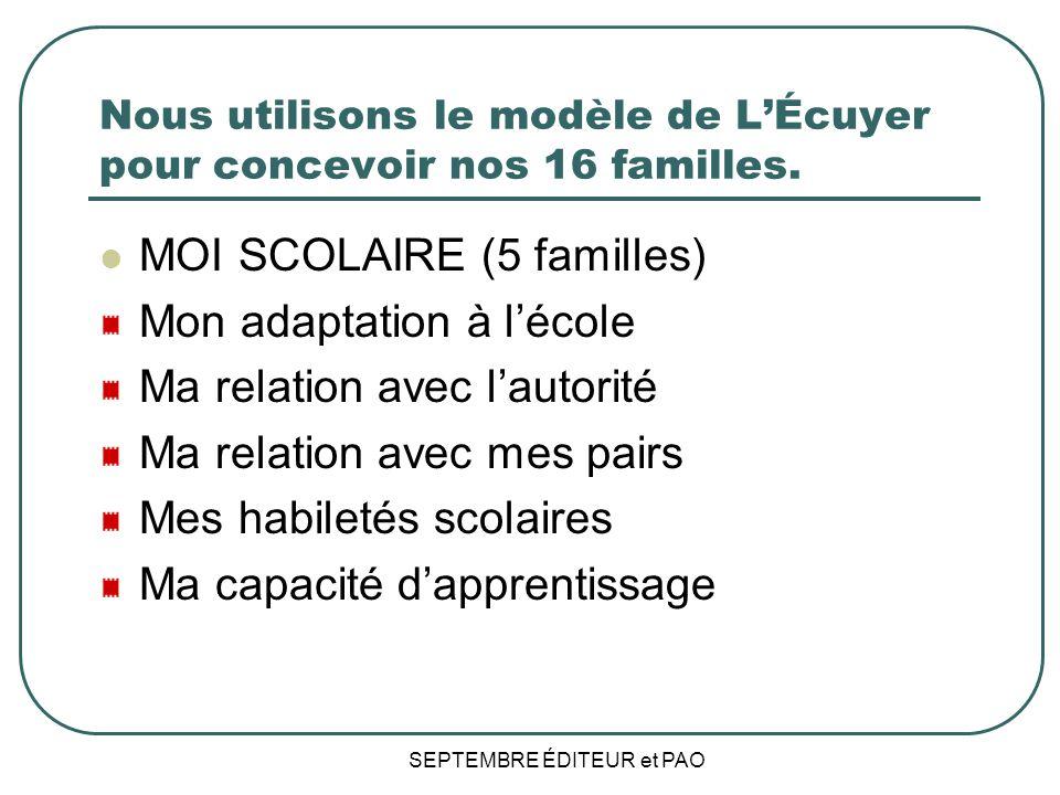 SEPTEMBRE ÉDITEUR et PAO Nous utilisons le modèle de LÉcuyer pour concevoir nos 16 familles.