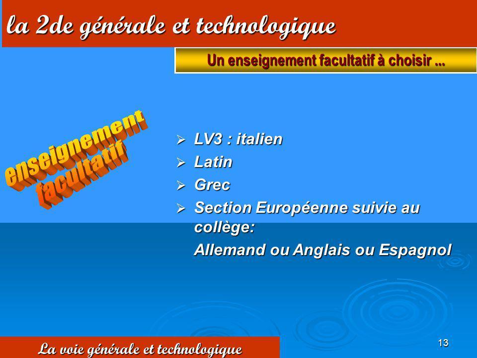 13 LV3 : italien LV3 : italien Latin Latin Grec Grec Section Européenne suivie au collège: Section Européenne suivie au collège: Allemand ou Anglais o