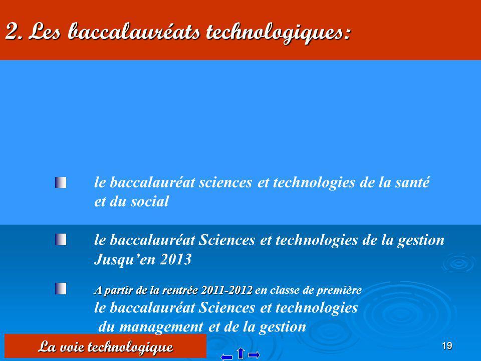 19 2. Les baccalauréats technologiques: La voie technologique le baccalauréat sciences et technologies de la santé et du social le baccalauréat Scienc