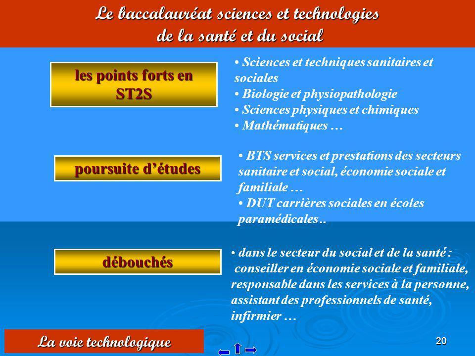 20 Le baccalauréat sciences et technologies de la santé et du social les points forts en ST2S Sciences et techniques sanitaires et sociales Biologie e