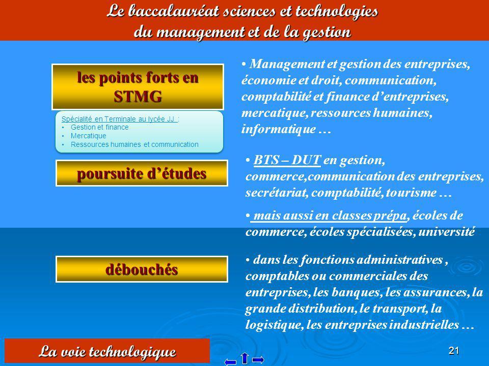 21 Le baccalauréat sciences et technologies du management et de la gestion les points forts en STMG Management et gestion des entreprises, économie et